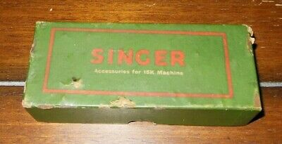 Vintage SINGER Metal Accessories for 15K Sewing Machine in Original Antique Box
