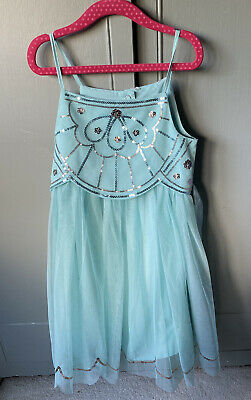 H&M Girls Party Dress Age 7 Years (pale blue) With Sequins
