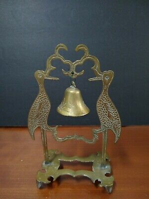 Vintage Chinese Solid Brass Bell with Pair of Cranes Holder.