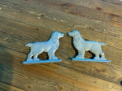 Pair of Vintage Cast Aluminum Dog Cocker Spaniel Chain Link Fence Gate Toppers