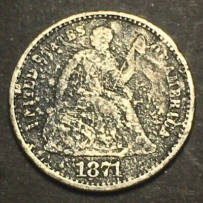 "1871 Seated Liberty Silver Half Dime 5c Better Date Type Coin Possible ""S""?"