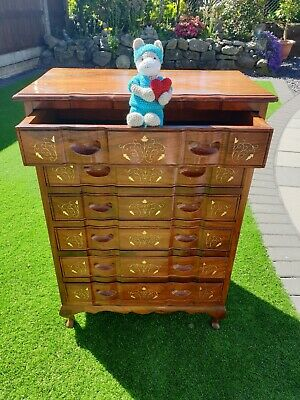 Beautiful Italian Inlaid Brass Marquetary Chest Drawers  (Delivery Available)
