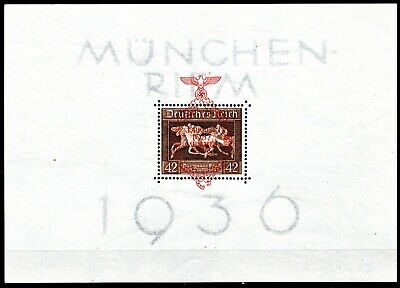Germany -1937 Brown Ribbon Sheet Opted In Red - Mint L Hinged - Scan + Pic