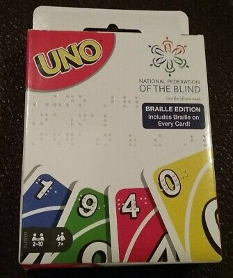 New Mattel Uno Card Game Braille Edition Missing Instructions