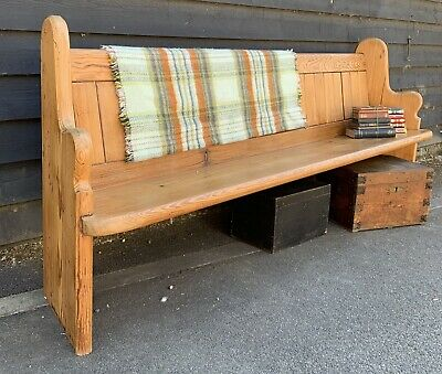 Charming Victorian Pine Church Pew Over 7ft Long With Bible Shelf