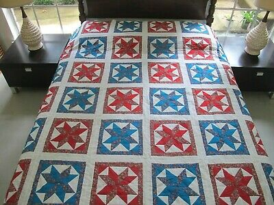 "BEAUTIFUL Vintage All Cotton Machine Sewn LeMOYNE STAR Quilt TOP 88"" x 75"" Good!"
