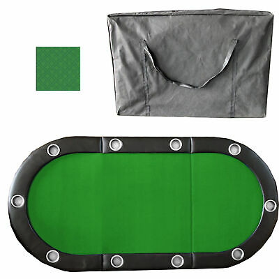 """Green 84"""" 10 Player Tri-Fold Folding Poker Table Top Speed Cloth & Carrying Case"""