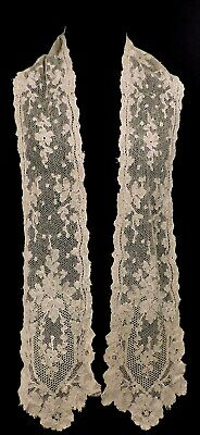 Victorian 19Th C Blonde Floral Lace Long Stole For Dress