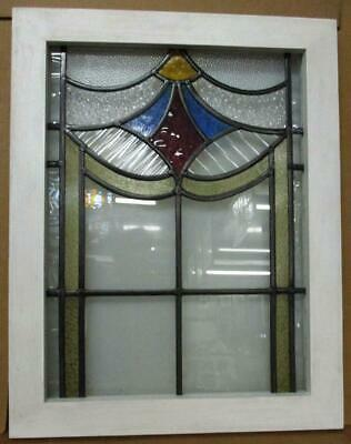 """MIDSIZE OLD ENGLISH LEADED STAINED GLASS WINDOW Abstract Design 21.25"""" x 26.75"""""""