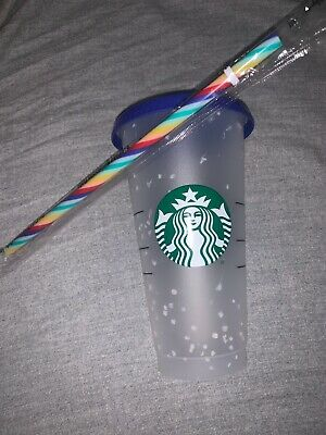 1 Starbucks Confetti Color Changing Cups + 🌈 Straw 2020  ((FREE SHIPPING)) RARE
