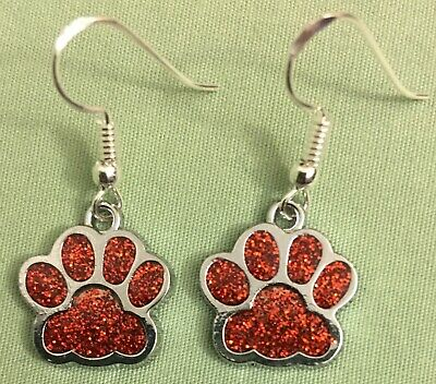 BLING PAW PRINT EARRINGS, RED ENAMEL with Sterling Silver Ear Wires