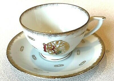 Antique Daughters of Rebekah IOOF Odd Fellows Tea Cup and Saucer Dove Chain