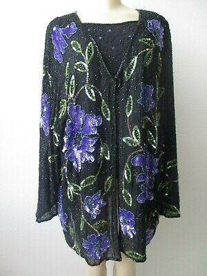 Alex Kim Black & Multi-Color Floral Design Sequin Embellished 2Pc Top Size 3X
