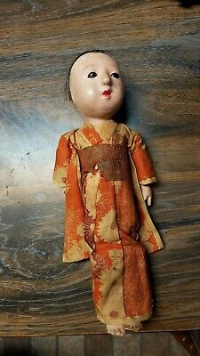 Antique late 19th C ?. Japanese Papier- Mache Doll , Glass eyes,