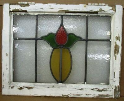 "OLD ENGLISH LEADED STAINED GLASS WINDOW Pretty Tulip Design 22"" x 17.25"""
