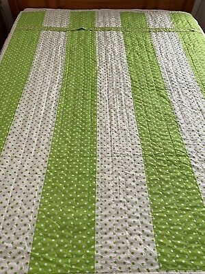 "VINTAGE Handmade Polka Dots Green & White  QUILT 59"" x 75"""