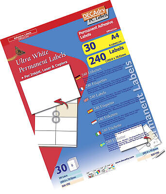 Décadry Labels OLW-4785-8 per Page - 30 Sheets