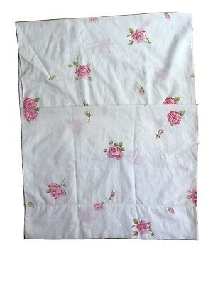 VINTAGE Lady Pepperell White Pink ROSE Floral PILLOWCASES USA Percale Cotton