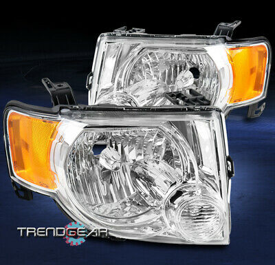 For 08-12 Ford Escape Crystal Style Replacement Headlights Headlamps Lamp Chrome