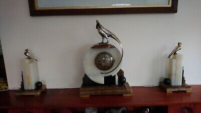 French Antique Mantle Clock  ArtDeco bronze silver signed Danvin PICK UP ONLY