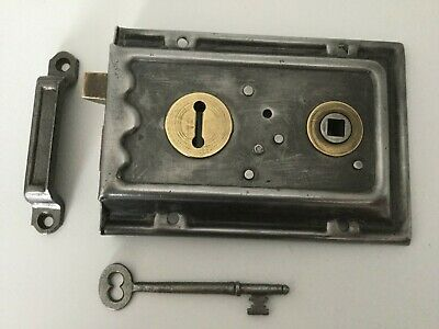 Vintage Salvaged steel and brass rimlock with key and keep
