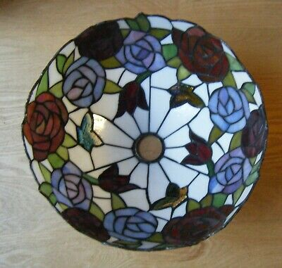 TIFFANY Style STAINED GLASS Table Lamp Shade ROSES Tulips