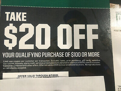 $20 Dicks Sporting Goods Coupon Off $100 In Store Or Online Exp 6/7/20