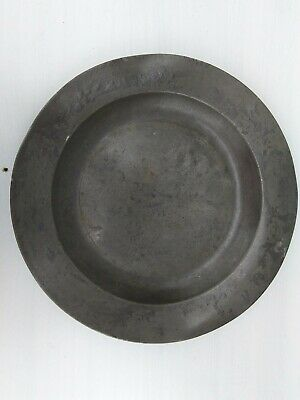 Antique Plain Rimmed Pewter Charger 370mm diameter with London touch mark