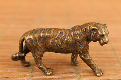 chinese old bronze art tiger statue figure collectable good stand