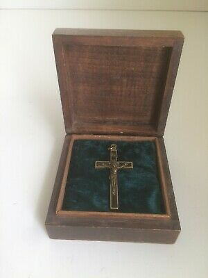 Wooden box containing a Crucifix