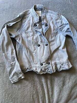 Next Age 12 Denim Jacket Summer Stripe Denim Buttons Cropped Frill Pretty Faded