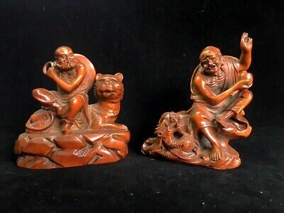 Collectable China Old Boxwood Handwork Carve Arhat Dragon Tiger A Pair Of Statue