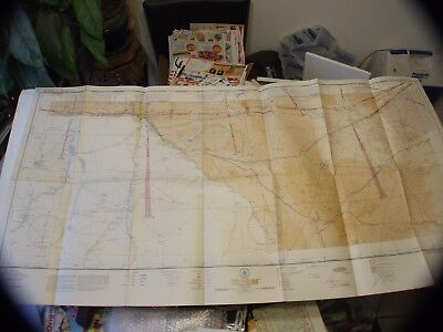 "Vintage Rare 1943 Restricted Aeronautical Chart Map El Paso, Tx 48"" X 24"""