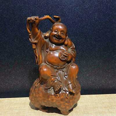 Collectable China Ancient Boxwood Hand-Carve Buddha Play The Golden Toad  Statue