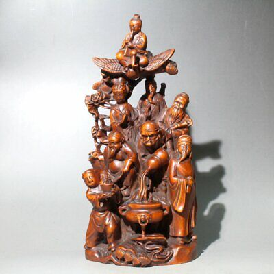 Collection China Old Boxwood Hand-Carved Eight Immortals Crossing The Sea Statue