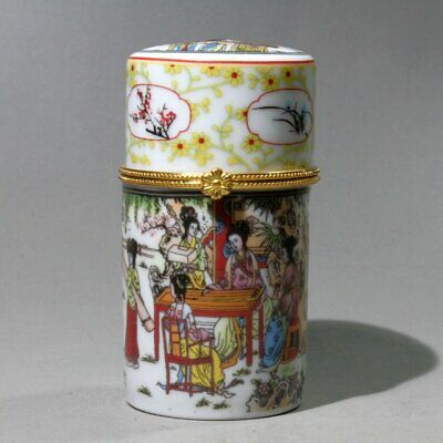 Collectable Old Porcelain Painting Ancient Twelve Beauty Beautiful Toothpick box