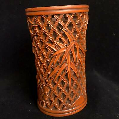 Collectable China Old Boxwood Hand-Carved Bamboo Hollow Out Beautiful Brush Pot