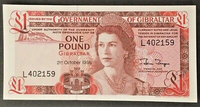1986 Goverment of Gibraltar £1 One Pound Bank Note Crisp Uncirculated