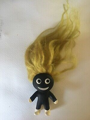 Rare 1960s Plastech black Troll With Yellow hair