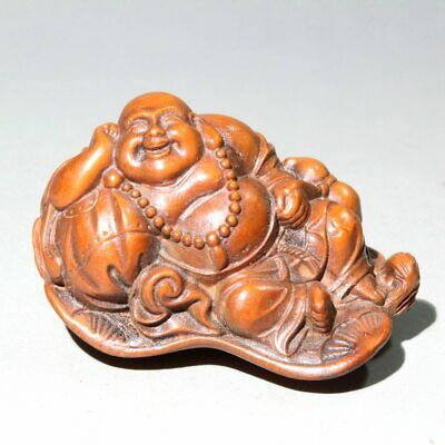 Collectable China Old Boxwood Hand-Carved Buddha Auspicious Delicate Chic Statue