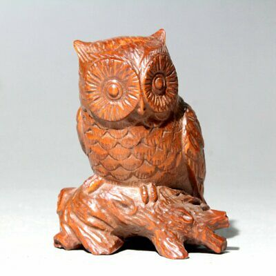 Collectable China Old Boxwood Hand-Carved Owl Interesting Unique Delicate Statue