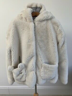 Next Girls Unicorn Jacket Age 11 Years Cream Soft Faux Fur Hooded Cotton Lined