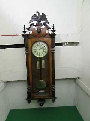 Antique Walnut Twin Weight Vienna Regulator Wall Clock, Fully Running
