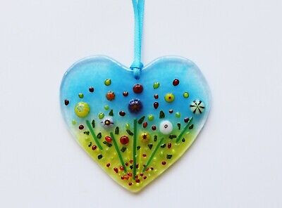 Handmade Fused Glass Art Flower Heart Sun Catcher Hanger Handmade Gifts Uk