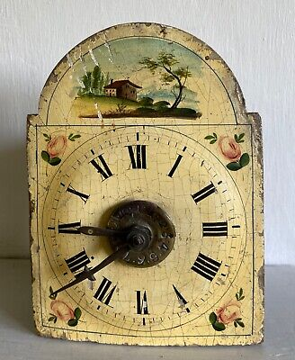 19C SMALL BLACK FOREST PAINTED DIAL ALARM CLOCK for restoration