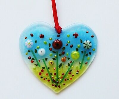 Handmade Fused Glass Art Flower Heart Sun Catcher Window Hanger Handmade Gift Uk