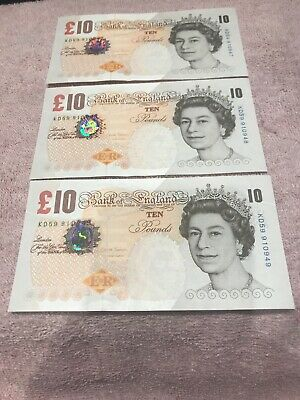 Bank Of England Ten £10 Pound Notes Uncirculated Consecutive Numbers X 3