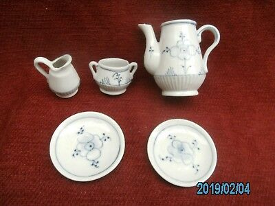 Vintage China Childrens Tea Set Miniature Decorated Blue And White .