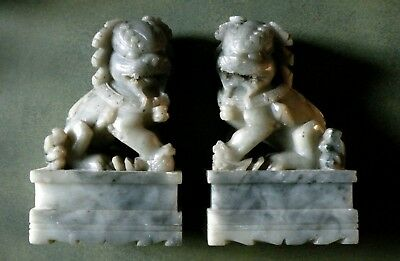 Antique Carved Stone Foo Dogs - Dogs of Fo -Temple Lions