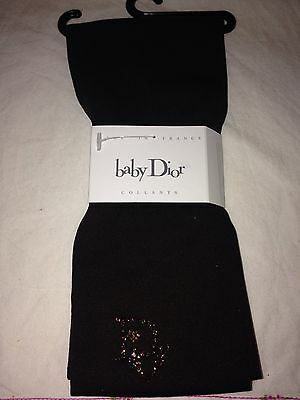 NEW Dior Authentic Baby Girl Brown Swarovski Crystal Party Tights 2 Years 18-24